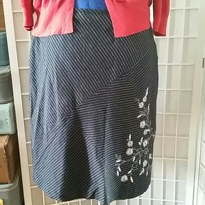 Plus size funky pinstripe and embroidered skirt